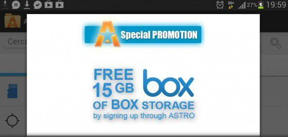 Astro File Manager regala 15 GB di spazio gratuito su Box