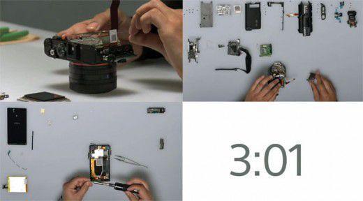 Sony monta in 5 minuti un Experia Z, una fotocamera Cybershot RX1 e una videocamera