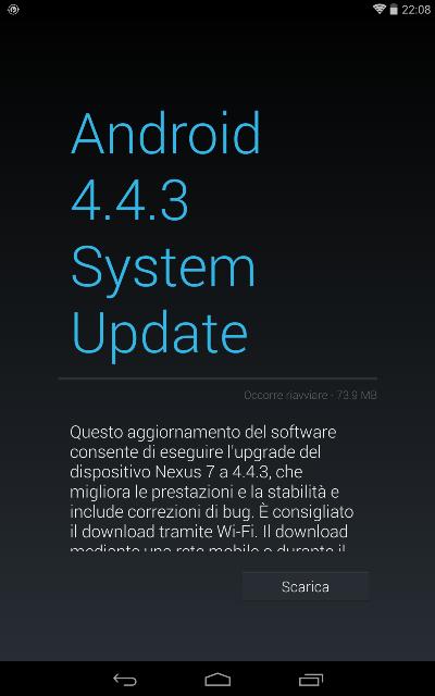 Android 4.4.3 su nexus 7