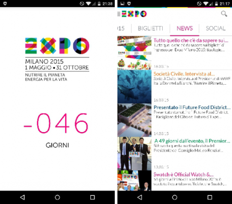 expo 2015 news countdown app