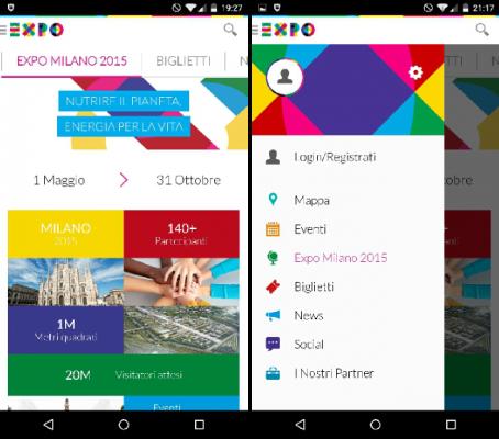 expo 2015 panel app eventi