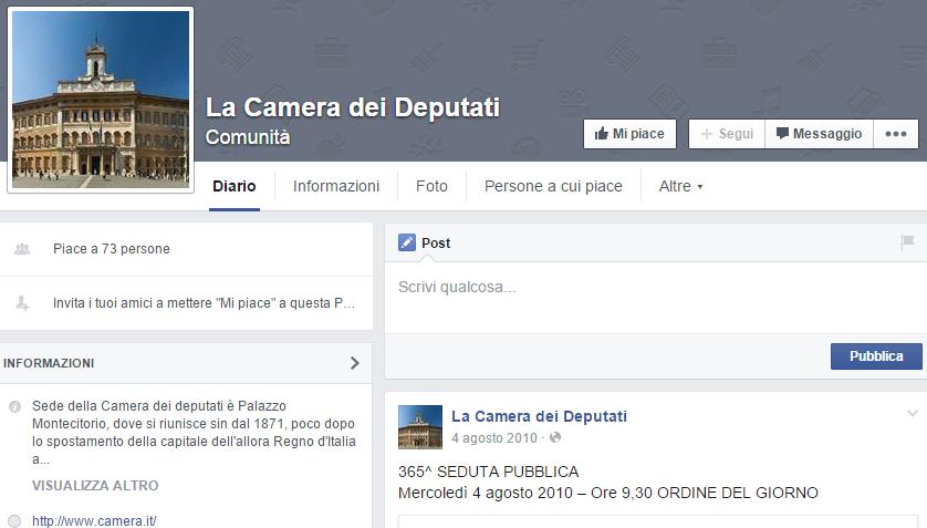 La camera dei deputati torna su facebook for La durata in carica dei deputati