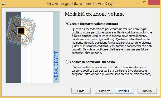 VeraCrypt crittografare scheda memoria