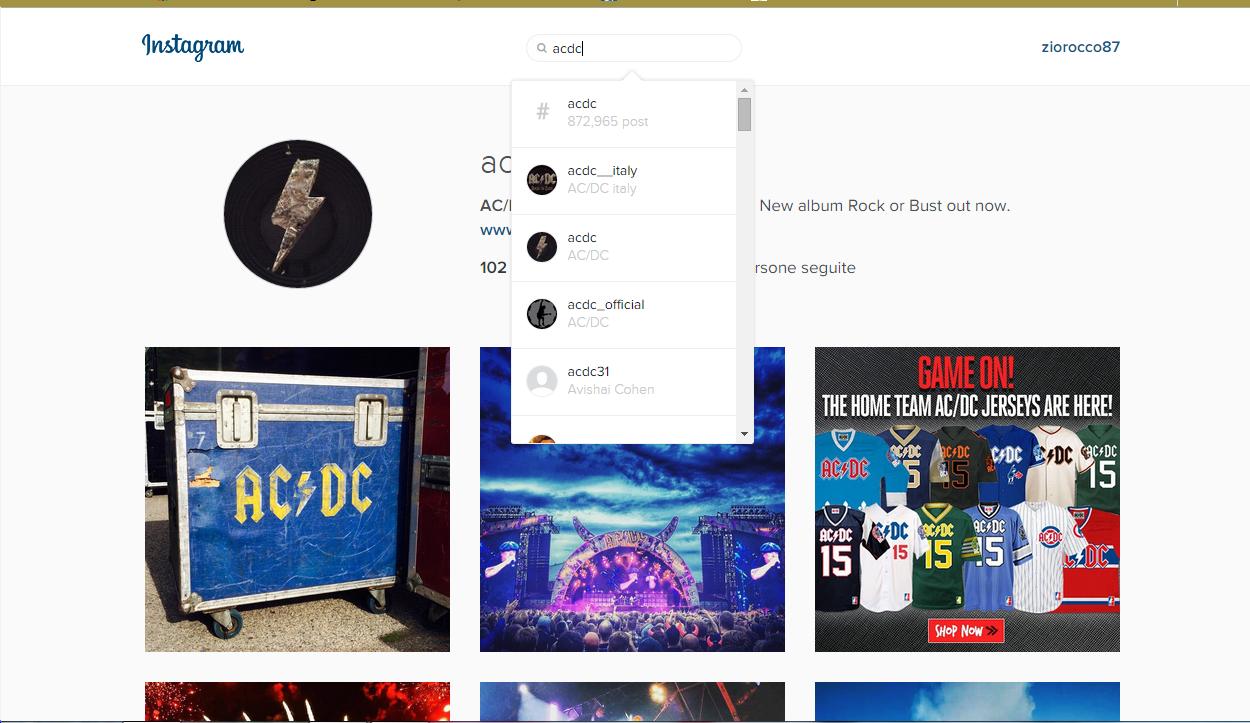 ricerca web instagram