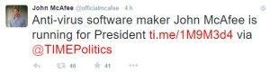 McAfee annuncia la sua candidatura via Twitter