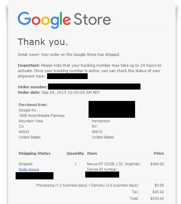 Nexus 6P ricevuta ordine