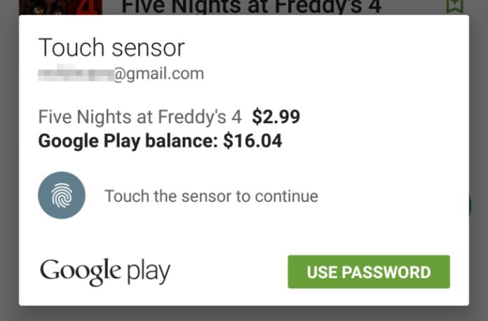 Play Store: è possibile fare acquisti con il sensore di impronte