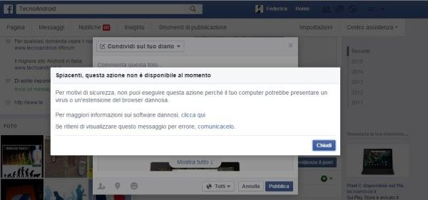 Facebook blocco account