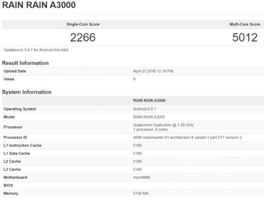 Geekbench mostra come OnePlus 3 potrebbe avere 6GB di RAM