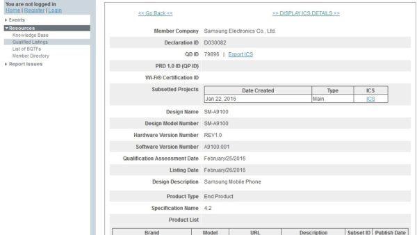 Certificazione bluetooth del Galaxy A9 Pro ricevuta nelle scorse settimane