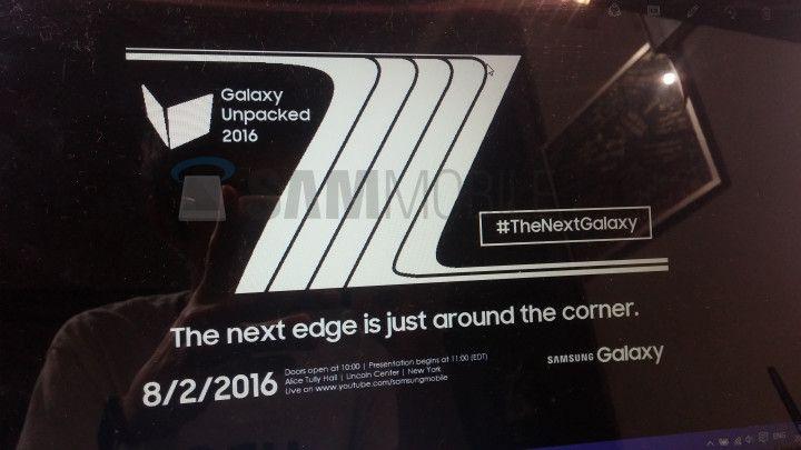 Invito alla presentazione del Galaxy Note 7