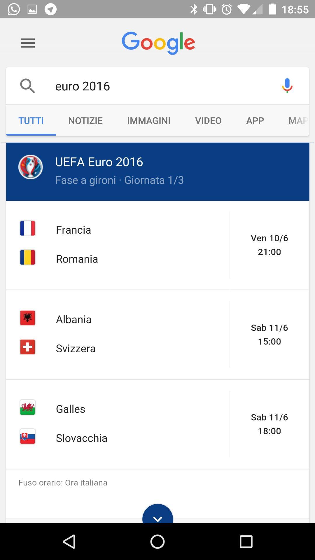 Euro 2016 Google Now