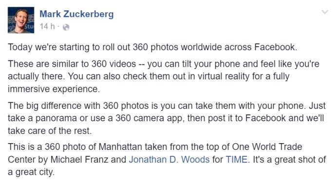 Il post di Zuckerberg sulle immagini a 360 gradi