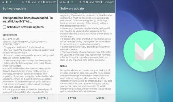 Il changelog dell'aggiornamento ad Android 6.0.1 Marshmallow per il Galaxy J5