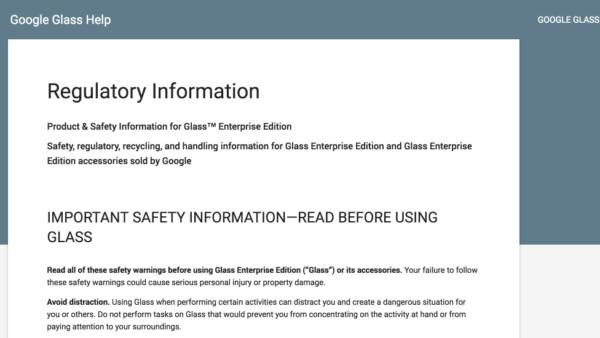 La pagina di supporto creata per i Google Glass Enterprise Edition
