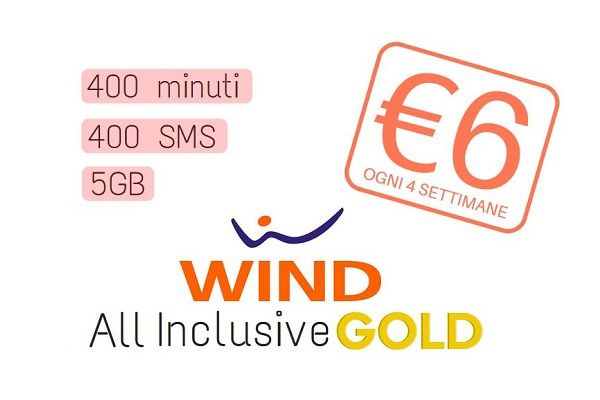 Wind All Inclusive Gold: 400 minuti, 400 SMS e 5GB a soli 6€ fino a domani 30/09