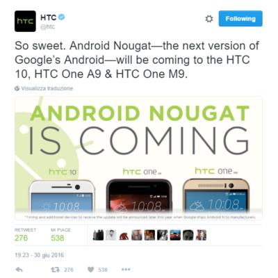 L'annuncio di HTC dell'update ad Android Nougat per A9, M9 e HTC 10