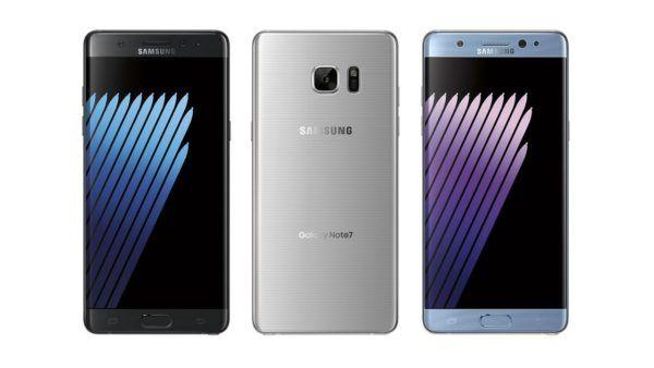 Il Samsung Galaxy Note 7 nelle tre colorazioni disponibili