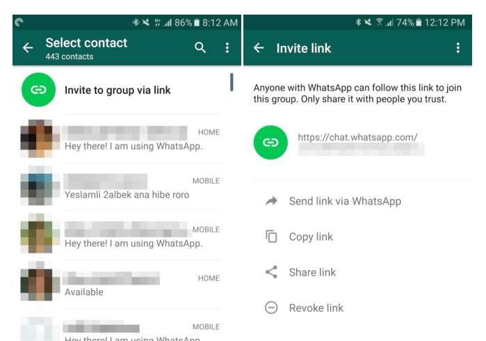 WhatsApp, versione beta permette di creare collegamenti per aggiungere membri a un gruppo