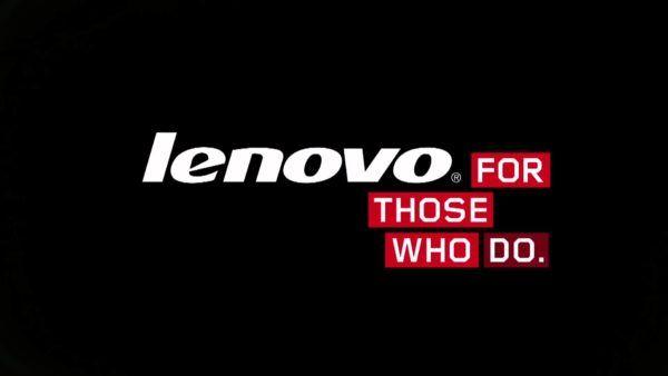 """L'iconico logo di Lenovo con lo slogan """"per coloro che fanno"""""""
