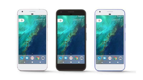 Il nuovo Google Pixel nelle tre colorazioni disponibili al lancio