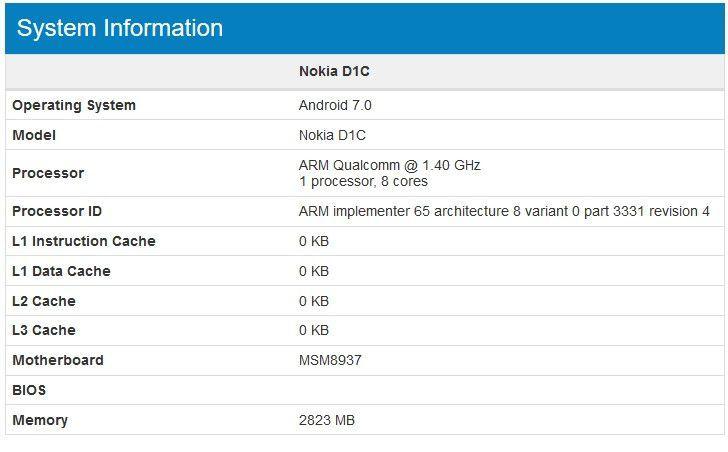 Nokia D1C su Geekbench, nuovo device Android con Nougat 7.0