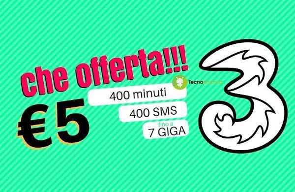 3 Italia: 400 minuti, 400 SMS e fino a 7 Giga a soli 5€