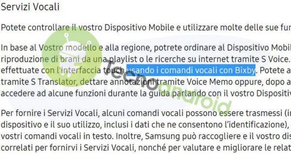 Bixby Samsung Italia