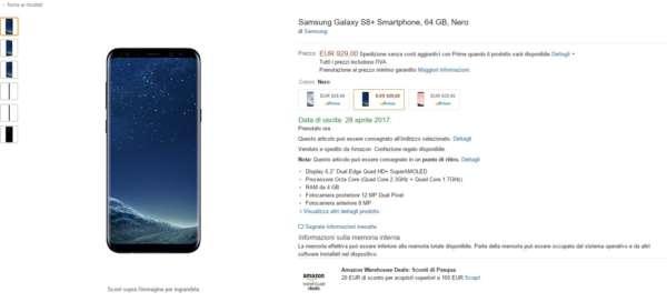 Samsung S8 preordine Amazon