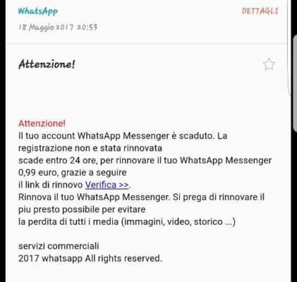 WhatsApp account scaduto