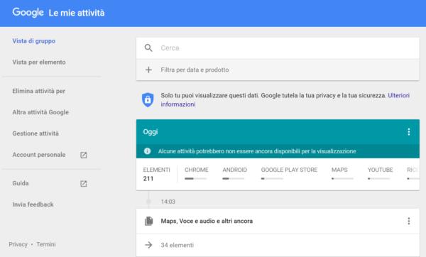 Le mie attività google spia android
