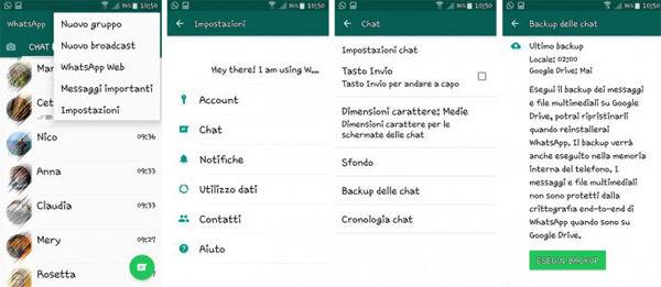 backup di WhatsApp su Google Drive