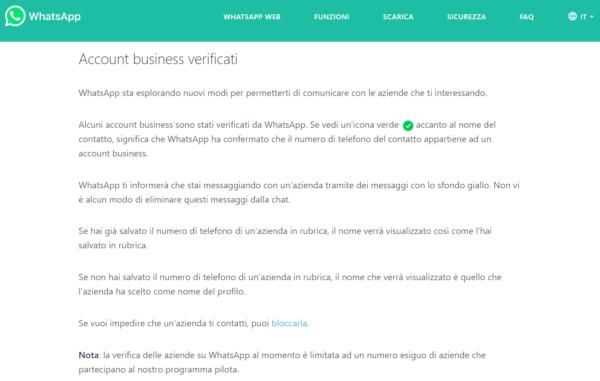 whatsapp nuova funzione account