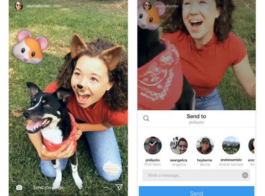 Instagram: da oggi le storie si condividono con Direct