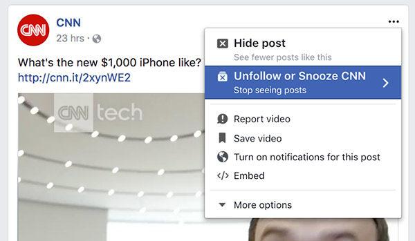 Facebook ora permette di nascondere temporaneamente i post di un amico