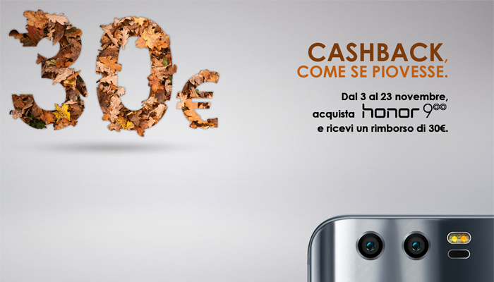 Honor 9, 30 euro di cashbak