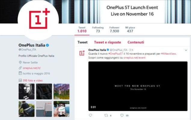 OnePlus 5T verrà presentato giovedì 16 novembre!