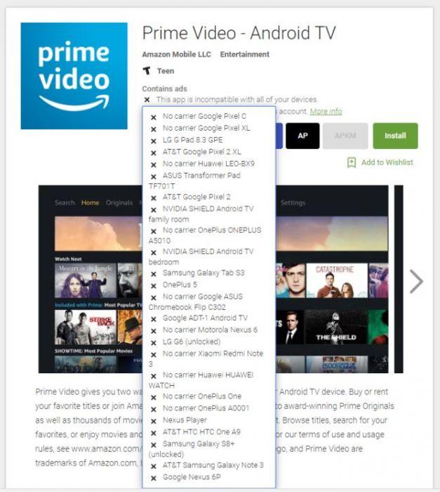 Amazon Prime video disponibile su Android TV