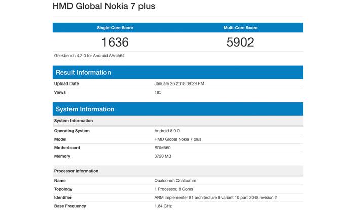 Nokia 7 Plus su GeekBench