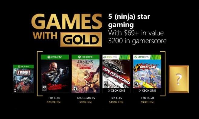 Microsoft ha annunciato i Game with Gold di febbraio