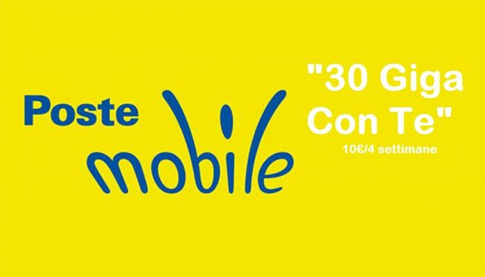 """PosteMobile propone """"30 Giga Con Te"""" a soli 10 euro ogni 4 settimane"""