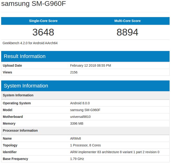 Galaxy S9 - Geekbench