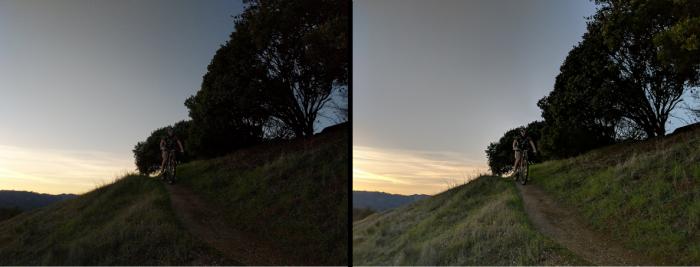 Pixel Visual Core usato sulla foto di destra