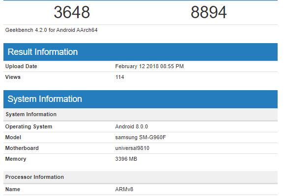 Samsung Galaxy S9 Exynos 9810 benchmark