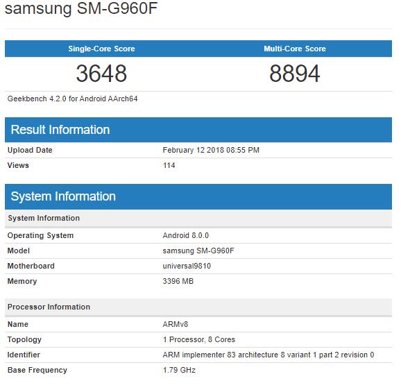 Samsung Galaxy S9+ con Exynos 9810 fa visita a GeekBench