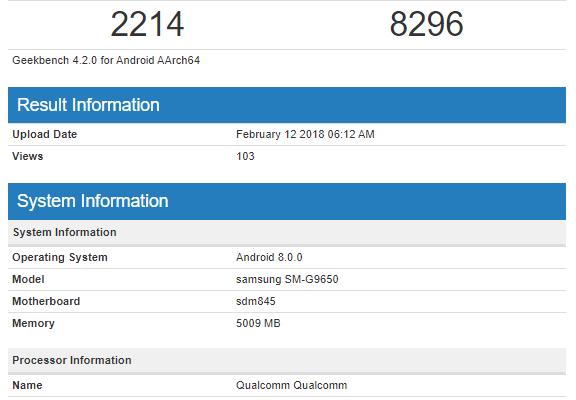 Samsung Galaxy S9 Plus Snapdragon 845 benchmark b