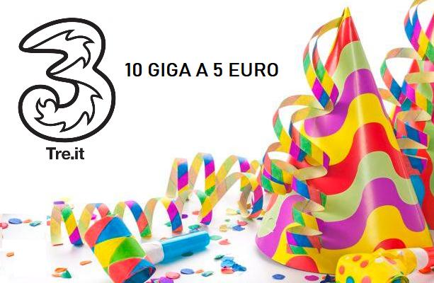 Tre per Carnevale offre 10 GB a soli 5 euro