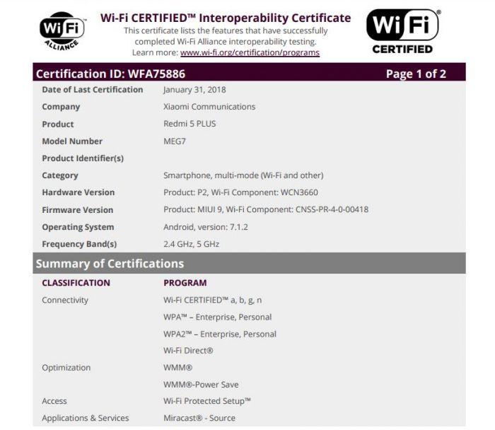 Xiaomi Redmi 5 Plus: certificazione WFA