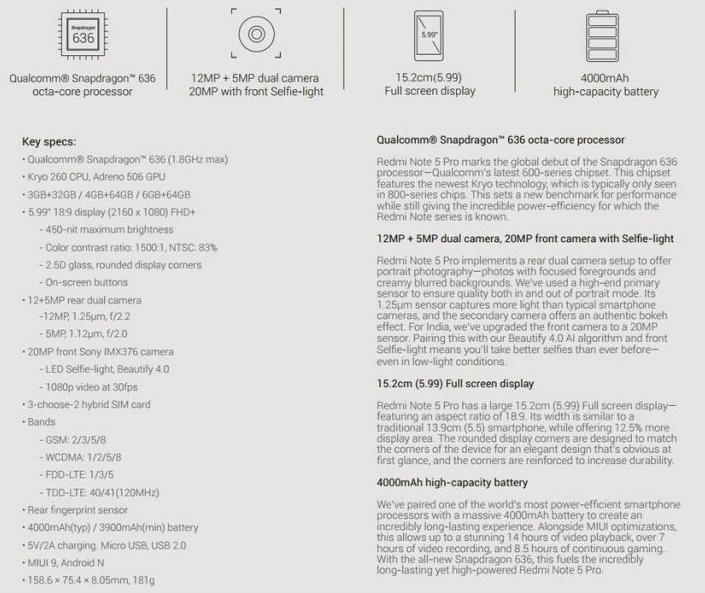 Specifiche Xiaomi Redmi Note 5 Pro