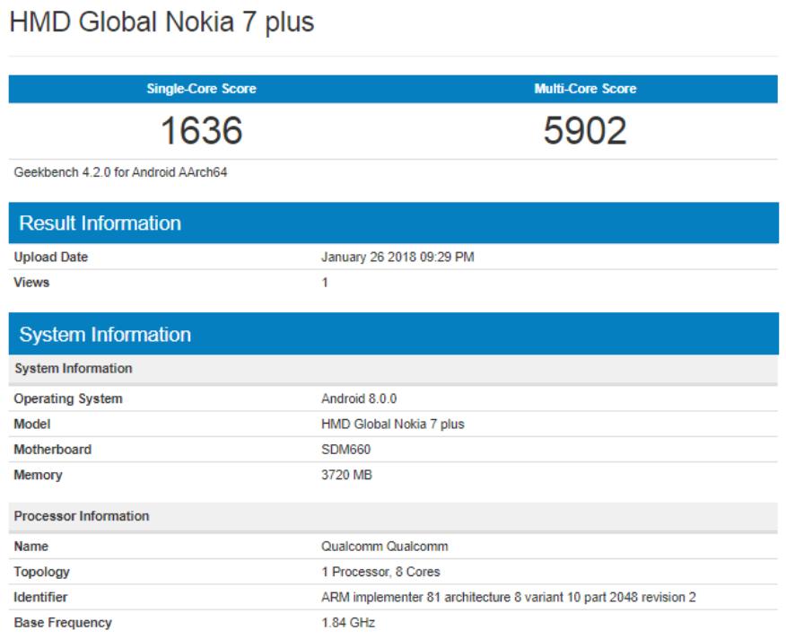 Nokia 7 Plus fa capolino su Geekbench